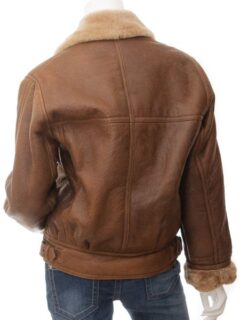Women's Brown Faux Fur Lapel Collar Leather Jacket: Charlton