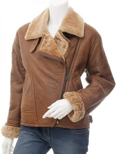 Womens Brown Faux Fur Lapel Collar Leather Jacket Front - Charlton