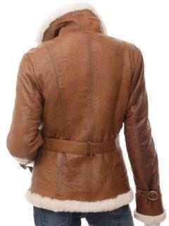 Women's Brown Fur Coat with Waist Belt: Benhar