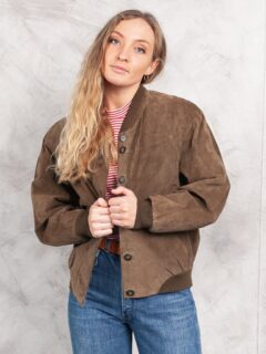 Women's Brown 80s Suede Bomber Leather Jacket: Balfour