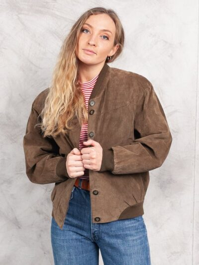 Womens Brown Suede Bomber Leather Jacket - Balfour