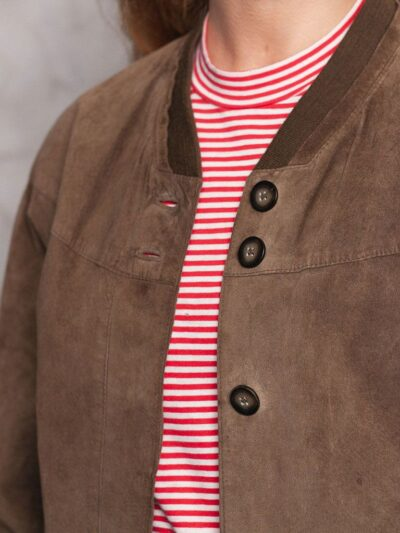 Womens Brown Suede Bomber Leather Jacket - Closer - Balfour