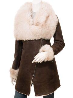 Women's Brown Toscana Shearling Leather Coat: Pukaki