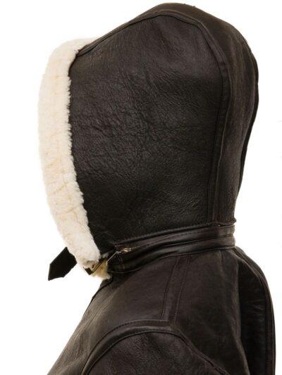 Womens Chocolate Brown Aviator Leather Jacket with Hood - Ashley