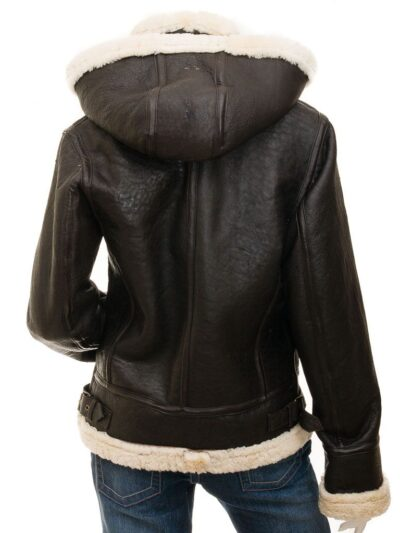 Womens Chocolate Brown Aviator Leather Jacket with Hood - Back - Ashley