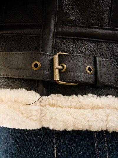 Womens Chocolate Brown Aviator Leather Jacket with Hood - Belt - Ashley