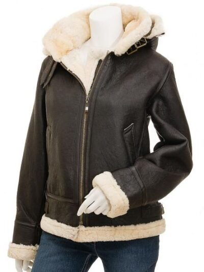 Womens Chocolate Brown Aviator Leather Jacket with Hood - Front - Ashley