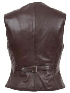 Women's Chocolate Brown Leather Vest: Peria