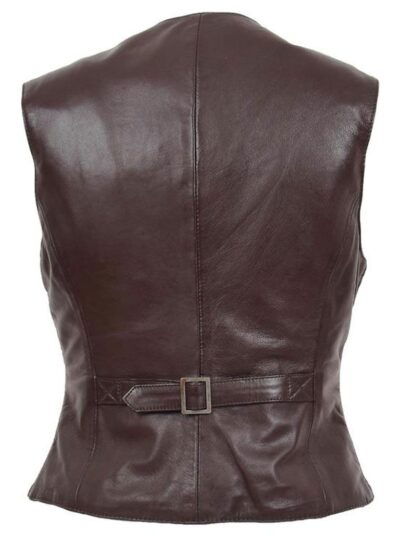 Womens Chocolate Brown Leather Jacket - Back - Peria