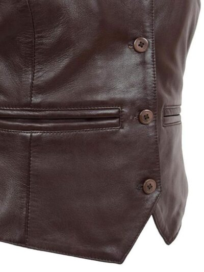 Womens Chocolate Brown Leather Jacket - Close - Peria
