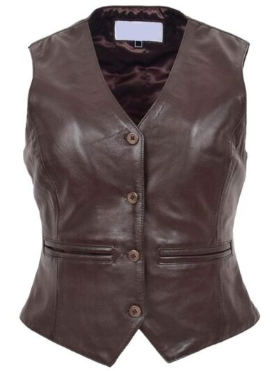 Womens Chocolate Brown Leather Jacket - Front - Peria