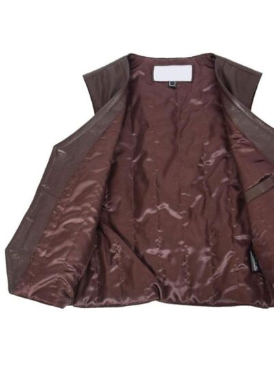 Womens Chocolate Brown Leather Jacket - Inner - Peria