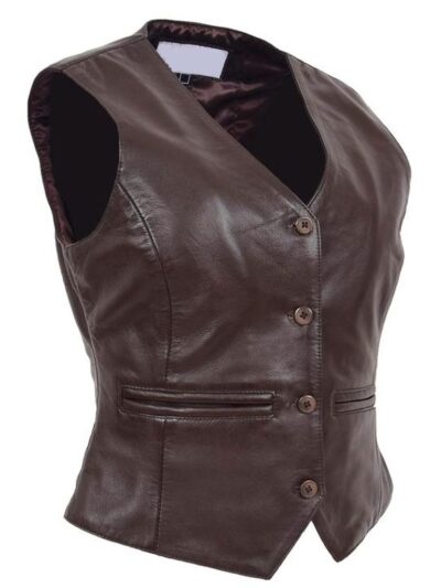 Womens Chocolate Brown Leather Jacket - Side Left - Peria