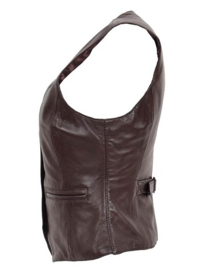 Womens Chocolate Brown Leather Jacket - Side - Peria