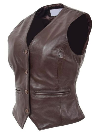 Womens Chocolate Brown Leather Jacket - Side Right - Peria