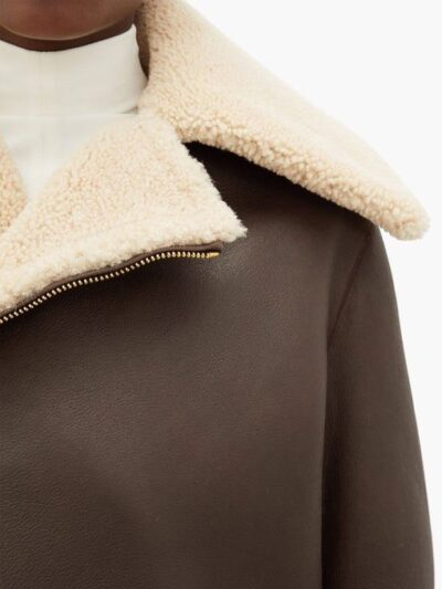 Womens Chocolate Brown Shearling Leather Jacket - Collar - Leeston