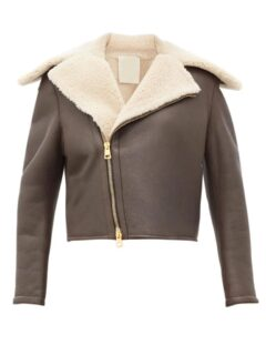 Women's Chocolate Brown Shearling Leather Jacket: Leeston