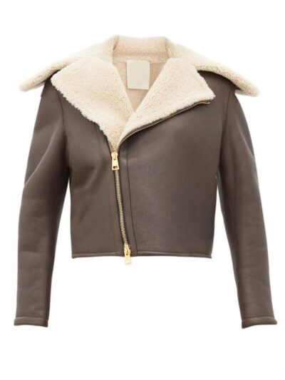 Womens Chocolate Brown Shearling Leather Jacket - Front - Leeston