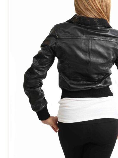 Womens Classic Black Bomber Leather Jacket - Back - Albany