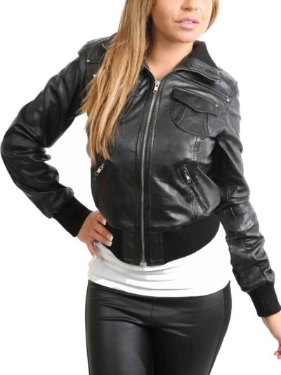 Womens Classic Black Bomber Leather Jacket - Front - Albany