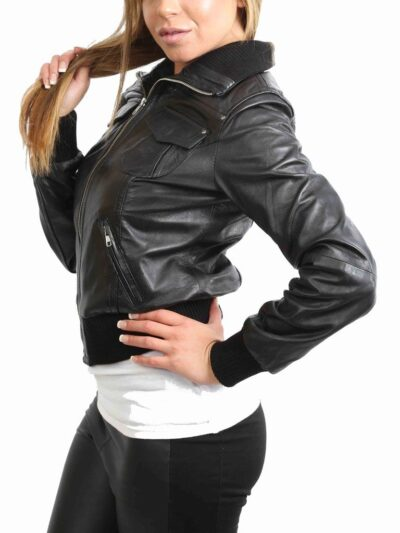 Womens Classic Black Bomber Leather Jacket - Side - Albany