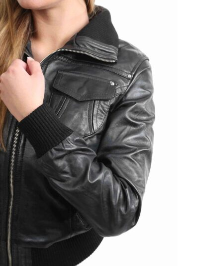 Womens Classic Black Bomber Leather Jacket - Sleeves - Albany