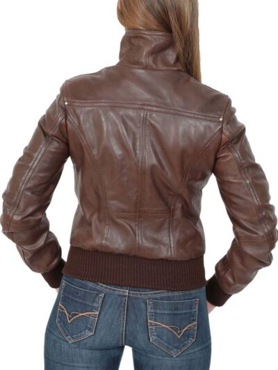 Womens Classic Brown Bomber Leather Jacket - Back - Dobson