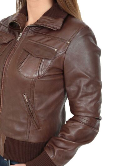Womens Classic Brown Bomber Leather Jacket - Closer - Dobson