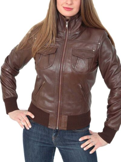 Womens Classic Brown Bomber Leather Jacket - Front - Dobson