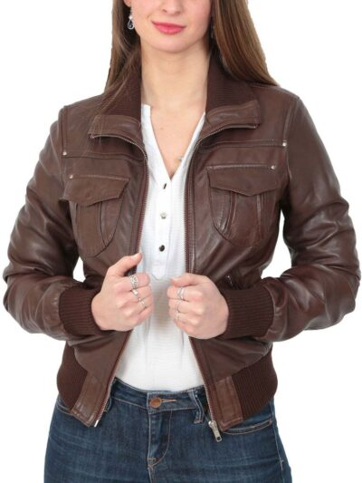 Womens Classic Brown Bomber Leather Jacket - Open - Dobson