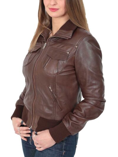 Womens Classic Brown Bomber Leather Jacket - Side - Dobson