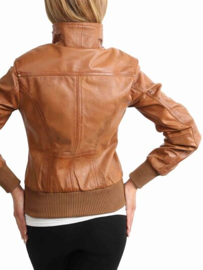 Womens Classic Tan Bomber Leather Jacket - Back - Fairfax