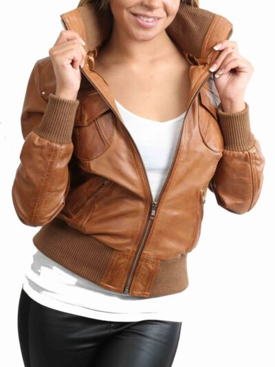 Womens Classic Tan Bomber Leather Jacket - Closer - Fairfax