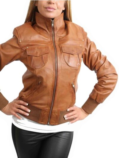 Womens Classic Tan Bomber Leather Jacket - Front - Fairfax