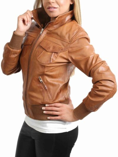 Womens Classic Tan Bomber Leather Jacket - Side - Fairfax