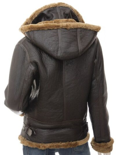 Womens Dark Brown Aviator Leather Jacket with Hood - Back - Beaumont