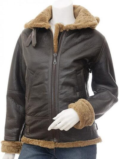 Womens Dark Brown Aviator Leather Jacket with Hood - Front - Beaumont