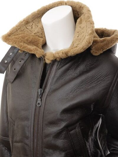 Womens Dark Brown Aviator Leather Jacket with Hood - Upper - Beaumont