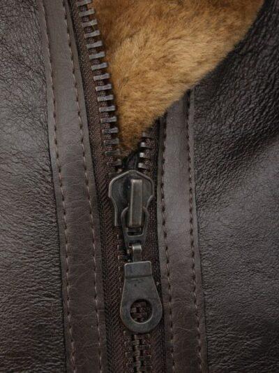 Womens Dark Brown Aviator Leather Jacket with Hood - Zip - Beaumont