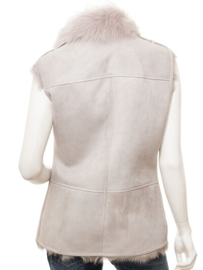 Womens Grey Toscana Shearling Leather Gilet Back - Tasman