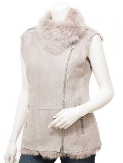 Womens Grey Toscana Shearling Leather Gilet - Tasman