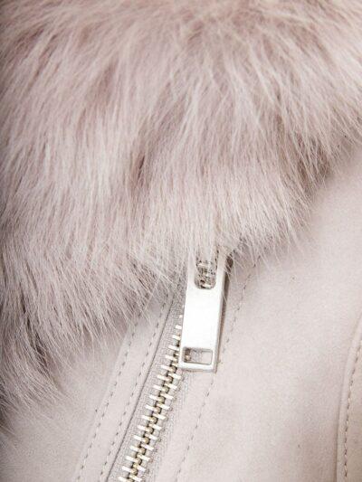 Womens Grey Toscana Shearling Leather Gilet Zip - Tasman
