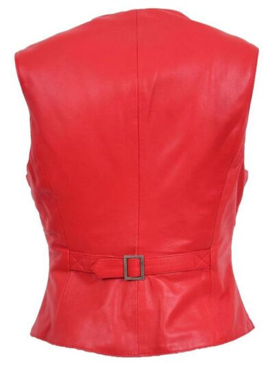 Womens Red Leather Vest - Back - Lumsden