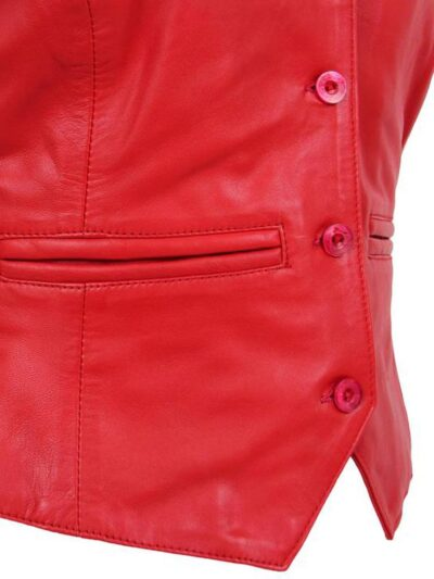 Womens Red Leather Vest - Closer - Lumsden