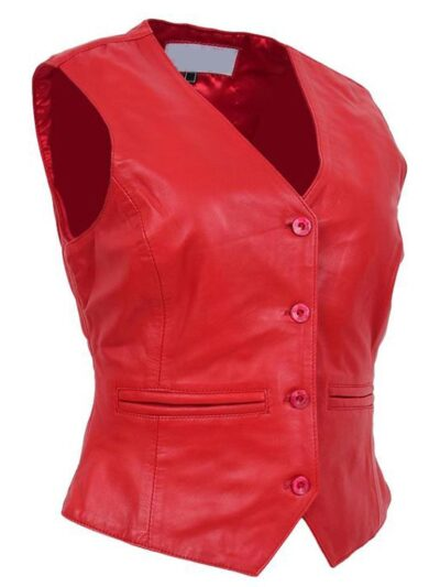Womens Red Leather Vest - Side Left - Lumsden