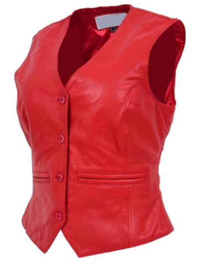 Womens Red Leather Vest - Side Right - Lumsden