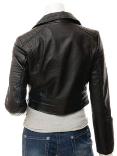 Women's Short Black Biker Leather Jacket: Haast