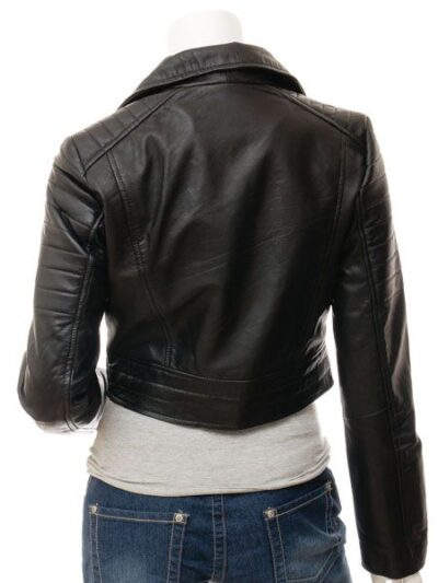 Womens Short Black Biker Leather Jacket - Black - Haast
