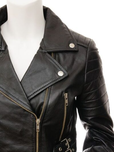 Womens Short Black Biker Leather Jacket - Front Closer - Haast
