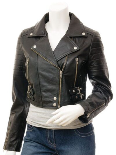 Womens Short Black Biker Leather Jacket - Front - Haast
